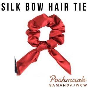 Silk Bow Hair Tie Scrunchie - Red